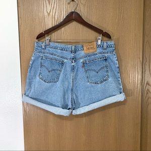 Levi's High Waist Mom Jean Shorts Orange Tab